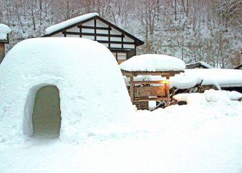 日本家屋,村,和,屋外,冬,雪