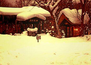 日本家屋,村,和,屋外,冬,雪,ヴィンテージ
