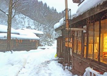 日本家屋,村,冬,屋外,雪