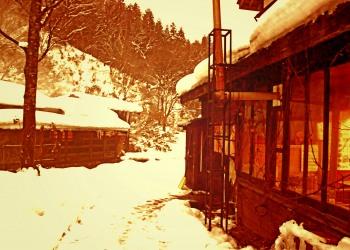 日本家屋,村,冬,屋外,雪,ヴィンテージ