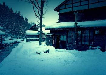 日本家屋,村,冬,屋外,雪,ホラー