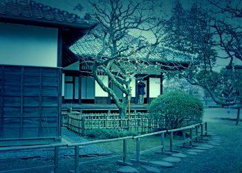 日本家屋,日本庭園,村,屋外,冬,曇り,ホラー
