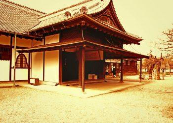 日本家屋,日本庭園,和風,屋外,春,晴れ,ヴィンテージ