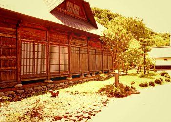 日本庭園,村,和,屋外,夏,晴れ,ヴィンテージ