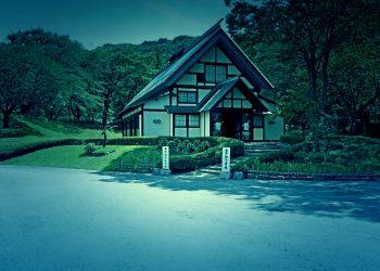 日本庭園,村,和,屋外,夏,晴れ,ホラー