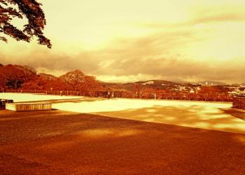 展望,町,秋,屋外,曇り,ヴィンテージ