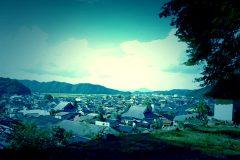展望,村,屋外,秋,晴れ