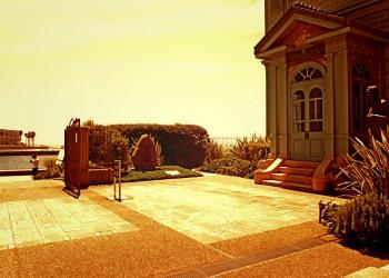 洋館中庭,夏,屋外,晴れ,晴れ,ヴィンテージ