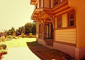 洋館,洋風庭園,晴れ,屋外,夏,ヴィンテージ