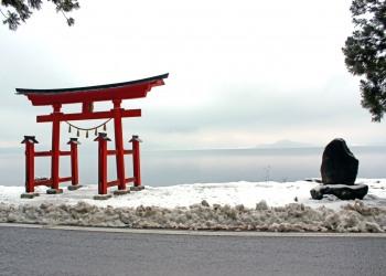神社,村,冬,屋外,雪