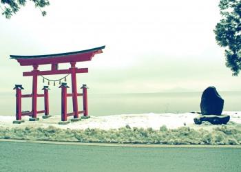 神社,村,冬,屋外,雪,昭和レトロ