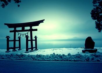 神社,村,冬,屋外,雪,ホラー