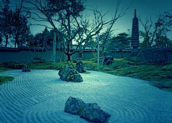 日本庭園,屋外,秋,曇り,ホラー