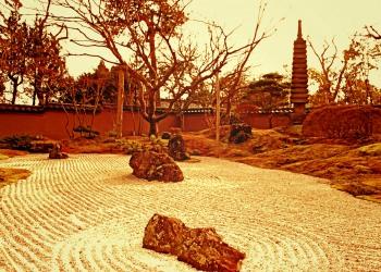 日本庭園,屋外,秋,曇り,ヴィンテージ